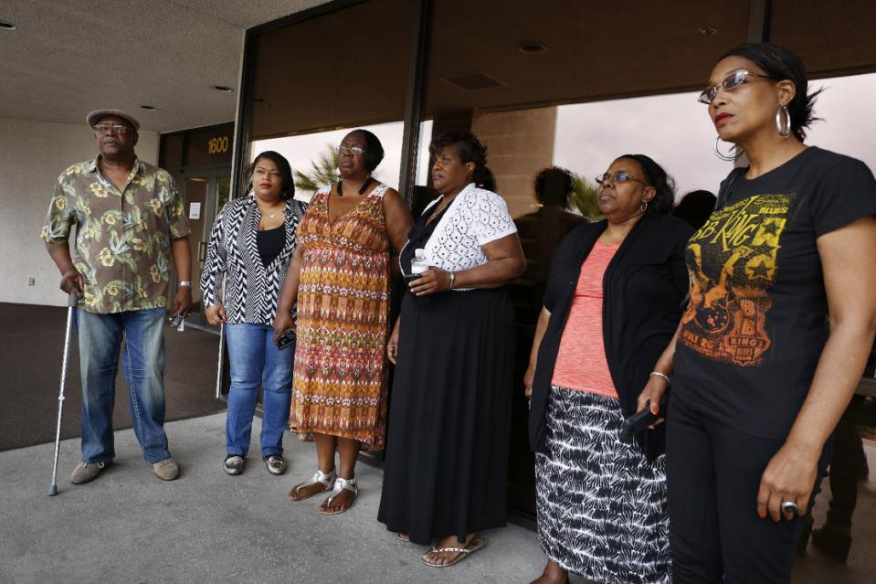 Willie King, from left, Tanya Deckard, Patty King, Karen Williams, Barbara King Winfree and Rita Washington stand outside of a funeral home after a private family viewing of blues musician B.B. King, in Las Vegas.