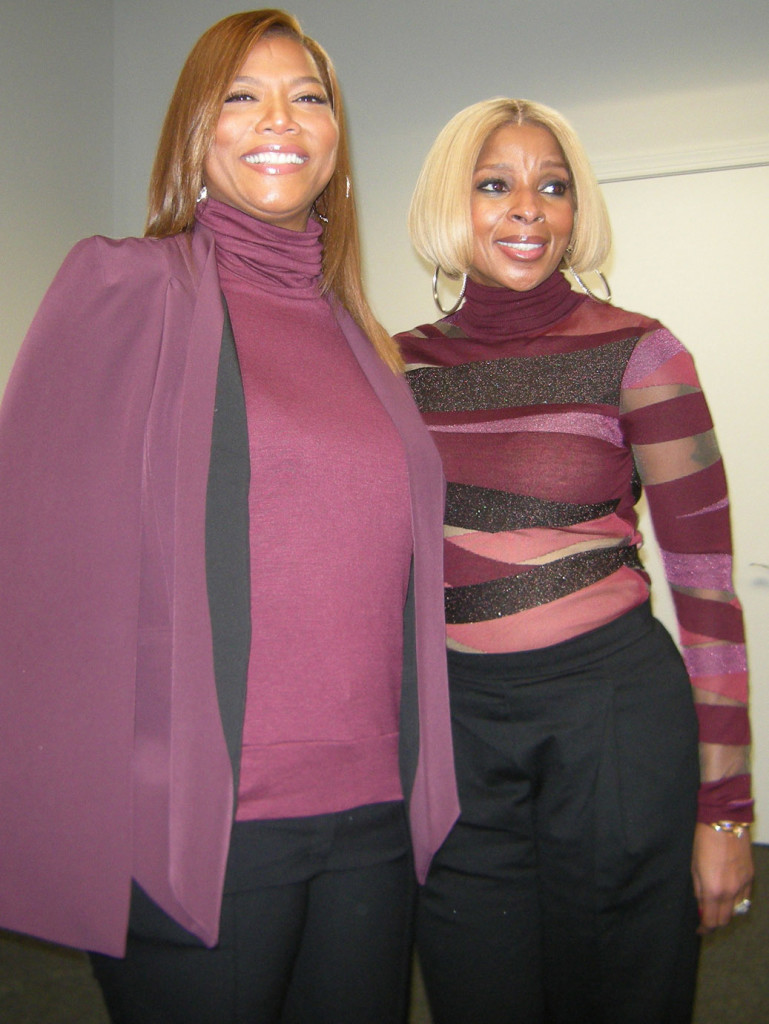 Queen Latifah and Mary J. Blige at Grummon Studios in Bethage, New York. (MMoore Photo)