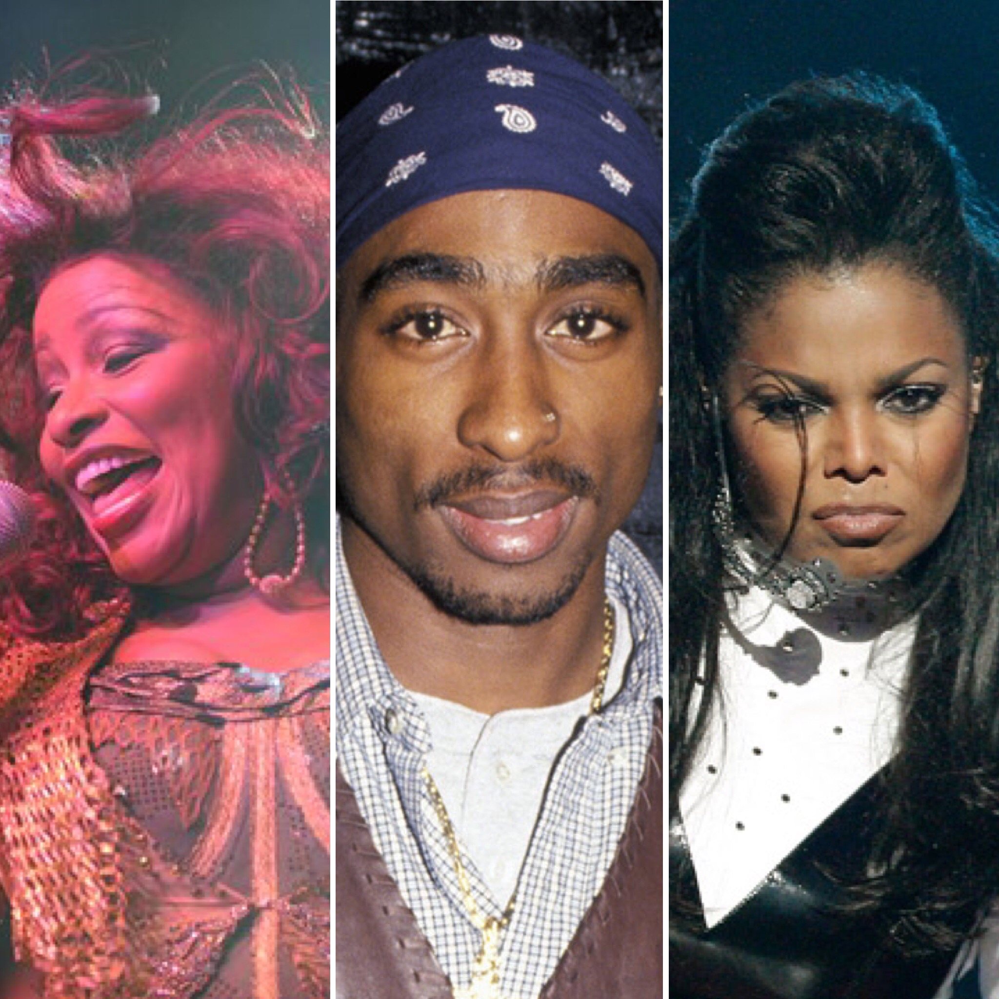 (L-R) Chaka Khan, Tupac, Janet Jackson (Getty Images)