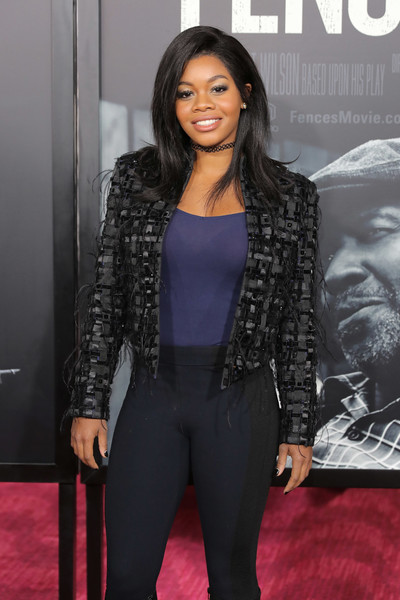 "Gabby Douglas attends the New York Special Screening of the Paramount Pictures title ""FENCES"" at Rose Theater, Jazz at Lincoln Center on December 19, 2016 in New York, New York."