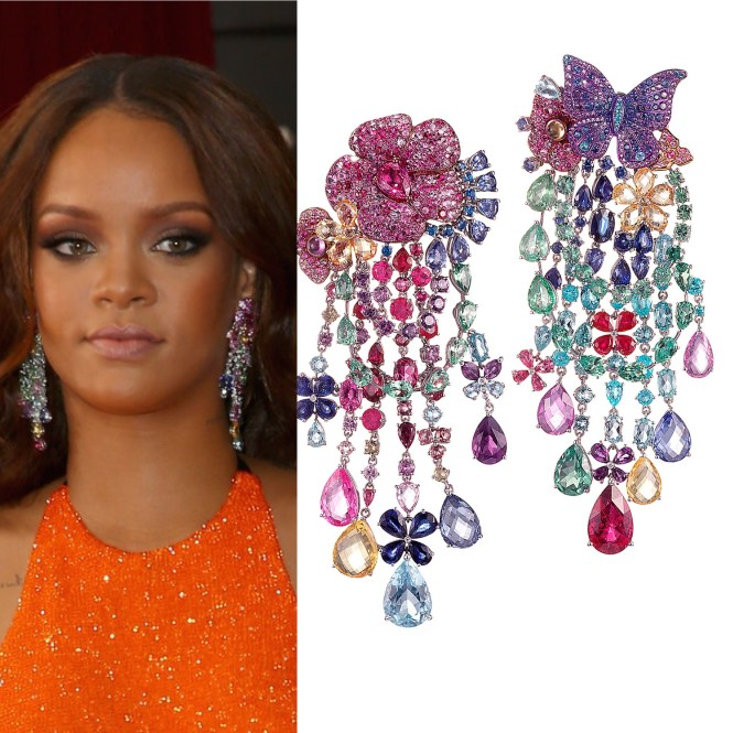 Rihanna Gemstone Chandelier Earrings Source Swiss Jeweler Chopard To Debut Collection At Cannes Film