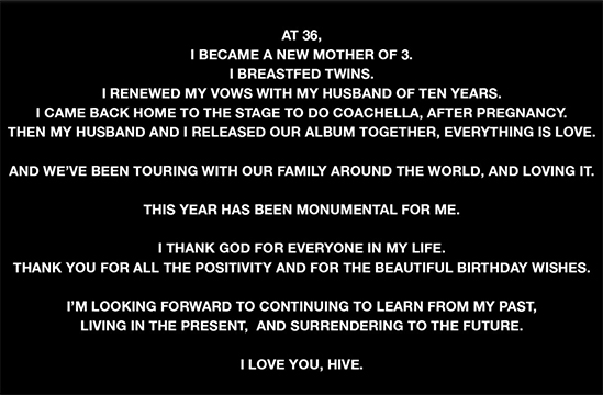 Beyonce Shares Emotional 'Your B*tch at 36' Message to