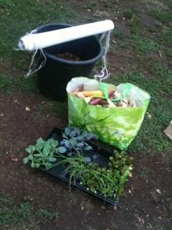 striscione, compost, letame e piantine