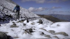 Biking on snow covered trails