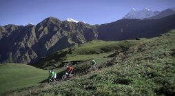 Biking through green lush meadows of Adi and Bedni Bugyals