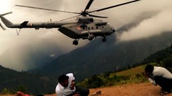 Helicopter leaving after taking pilgrims