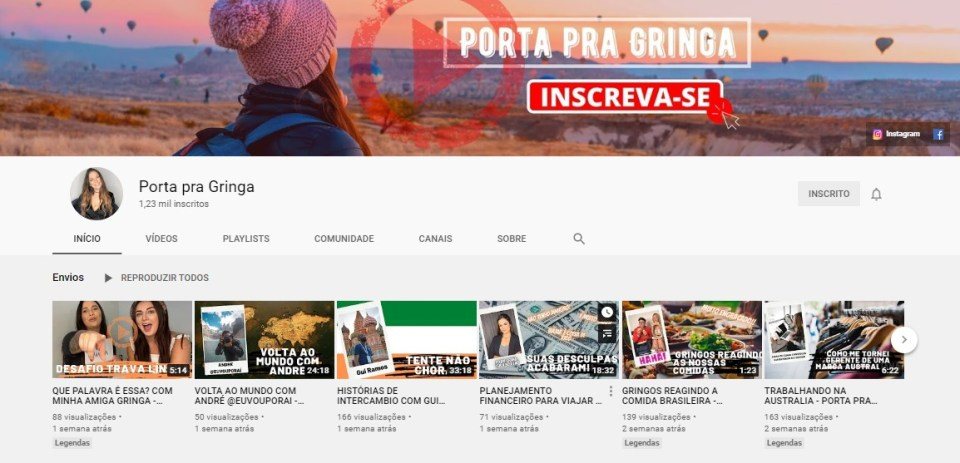 porta pra gringa no youtube