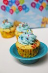 Birthday funfetti cupcakes with blue buttercream frosting