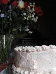 Fresh strawberry cake with strawberry Swiss meringue buttercream