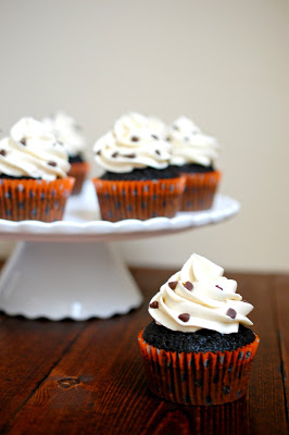Cookie dough stuffed dark chocolate cupcakes