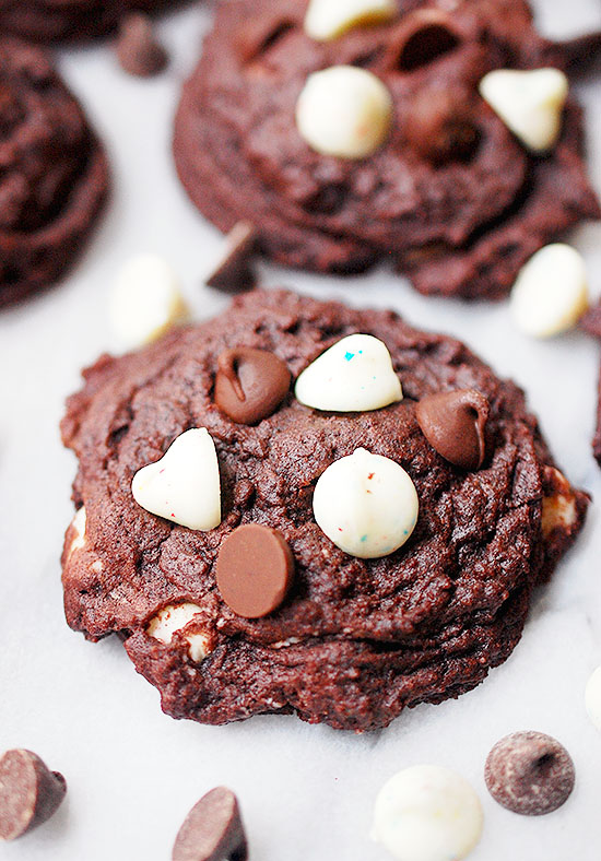 soft and chewy chocolate confetti chip cookies
