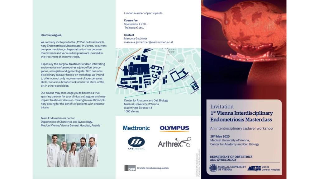 """Einladung """"1st Vienna Interdisciplinary Endometriosis Masterclass"""" an der Med. Uni. Wien"""