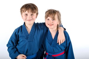 A photo of two students from the Little Ninjas Freestyle Karate program at Evade