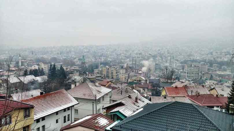 Sarajevo city view smoggy Hiking day
