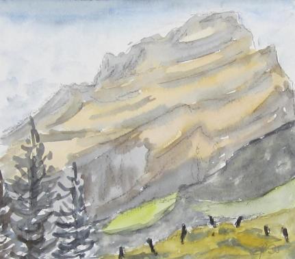 Wasserberg, 1995, mit Passepartout und Rahmen, 30 x 40 cm