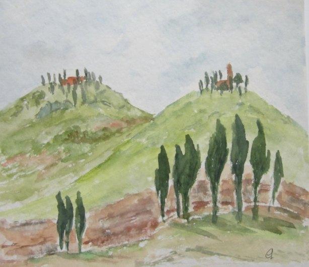 Hügelzug in der Toscana, 2004, mit Passepartout und Rahmen, 40 x 50 cm