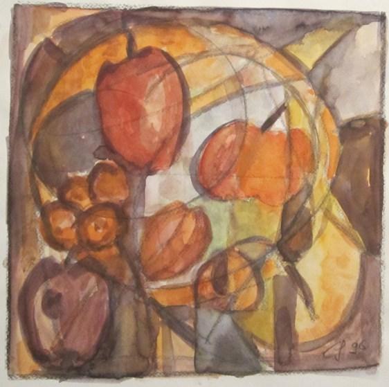 Abstrakte Farbfantasie in rotbraun, 1996, mit Passepartout und Rahmen, 40 x 50 cm