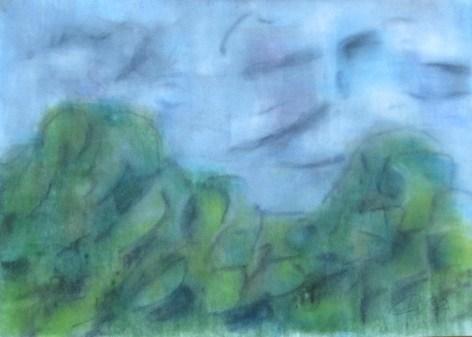 stürmischer Regentag, 2002, mit Passepartout und Rahmen, 40 x 50 cm