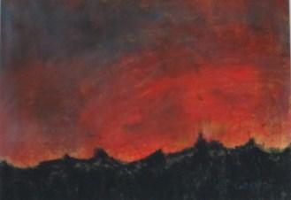 roter Sonnenaufgang, 2008, mit Passepartout und Rahmen, 40 x 50 cm