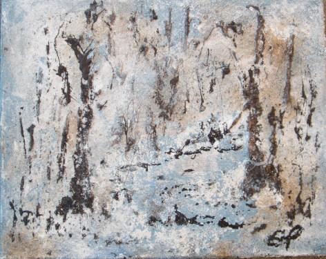 Lichteinfall im Winterwald, 2015 Powertex Easy 3D, Leinwand, 40 x 50 cm