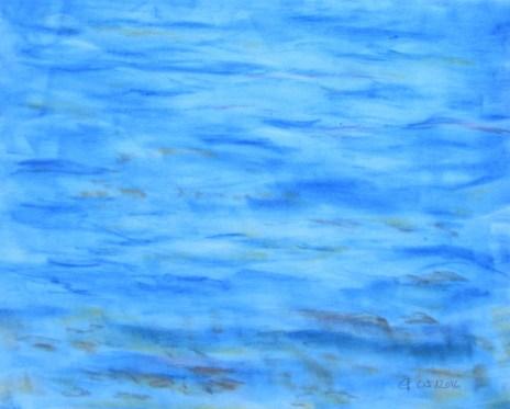 sanfte Wellen am Zürichsee, 05.2016 Weichpastellkreide, mit Passepartout und Rahmen 50 x 70 cm