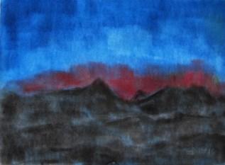 Abendhimmel im Winter, 2016 Weichpastellkreide, mit Passepartout und Rahemdn, 40 x 50 cm