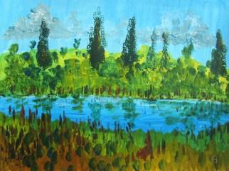 Erinnerungen an einen See in der Lombardei, 05.2017 Acryl, mit Passepartout und Rahmen 40 x 50 cm