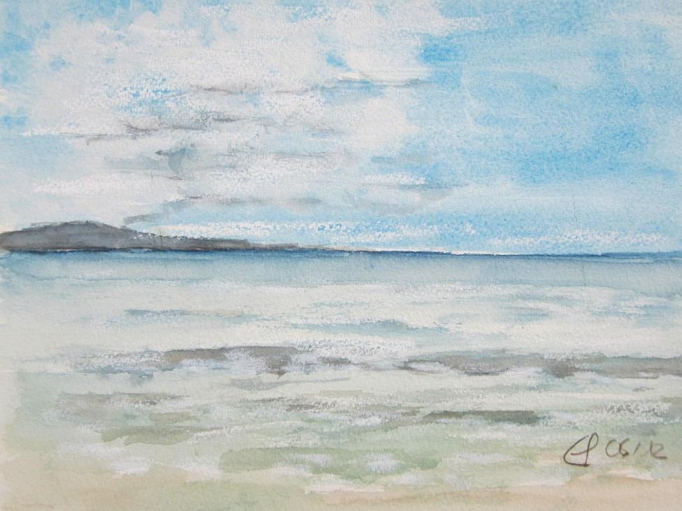 Blick auf Elba, 2012 Aquarell mit Passepartout und Rahmen 40 x 50 cm