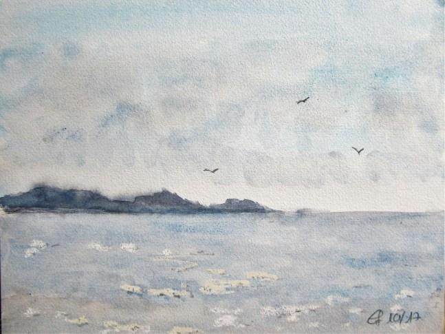 Morgenstimmung in Follonica, 2017 Aquarell mit Passepartout und Rahmen 40 x 50 cm