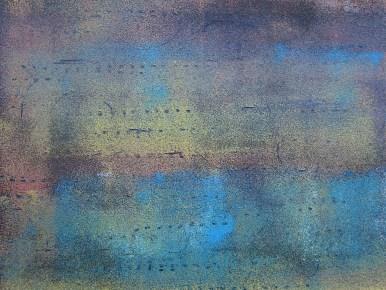 Teer mit Acryl in blau ocker und rot, 2018 auf Karton 30 x 40 cm