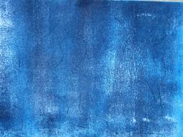 Teer mit Acryl und Asche in blau, 2018 auf Karton 17 x 23 cm