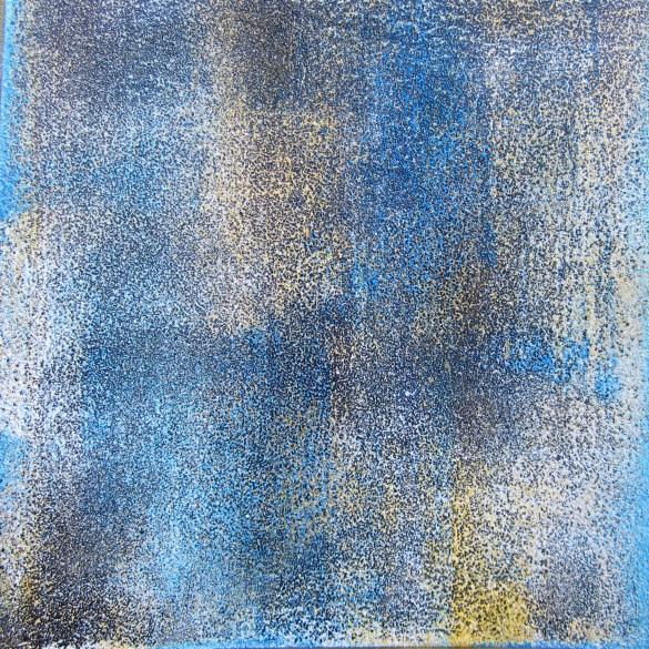 Teer und Acryl in zarten Farben, 04.2018 auf Karton 15cm x 15 cm, mit Rahmen 25cm x 25cm