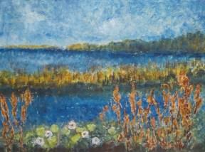 See im Naturschutzgebiet, 2018 Powertex, Stonearte, Farpigmente auf Leinwand, 60 x 80 cm