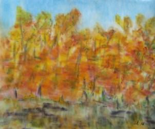 Wald im goldenen Herbstkleid, 2018 Weichpastellkreide, mit Rahmen und Passepartout 40 x 50 cm