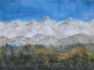 Schneeberge, 02.2019 Weichpastellkreide, mit Passepartout und Rahmen, 40 x 60 cm