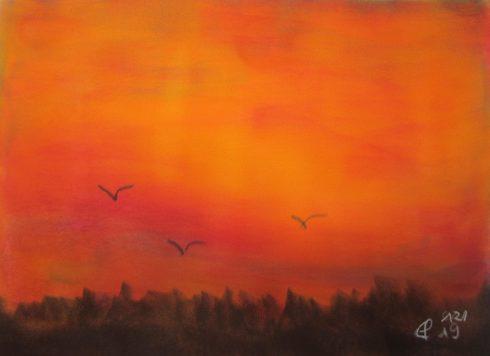 Roter Sonnenuntergang, 12.2019 Weichpastellkreide, mit Passepartout und Rahmen 40 x 50 cm