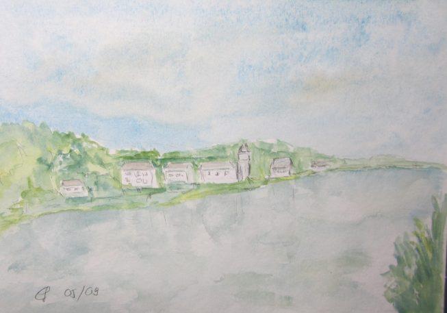 Zusammenfluss Loire und Vienne, 2009 Aquarell, mit Passepartout und Rahmen 30 x 40 cm