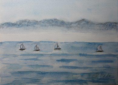 Segelschiffe an Bodensee, 2010 Aquarell, mit Passepartout und Rahmen 30 x 40 cm