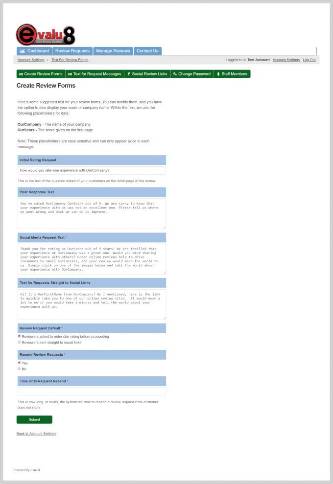 Create Review Forms