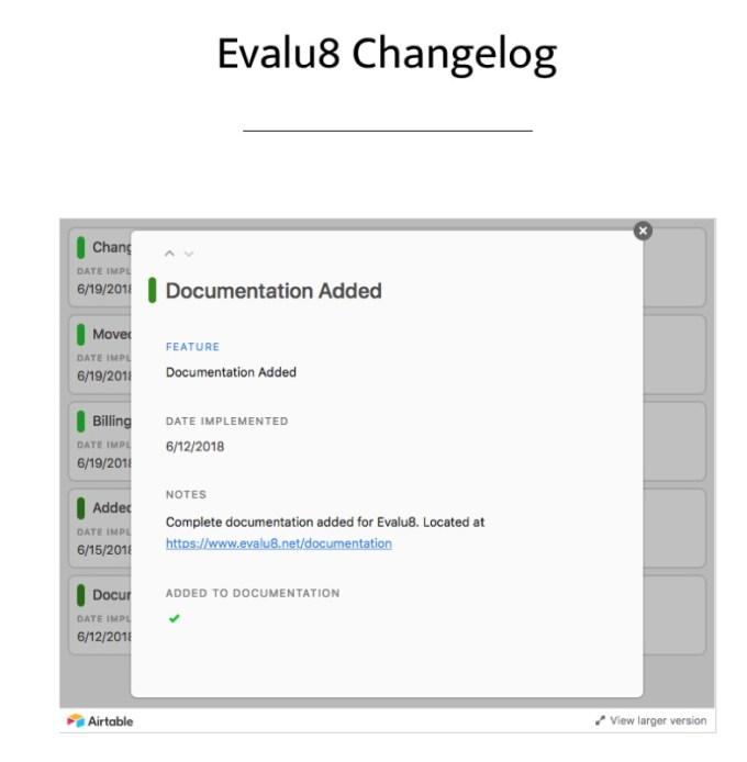 Evalu8 Changelog