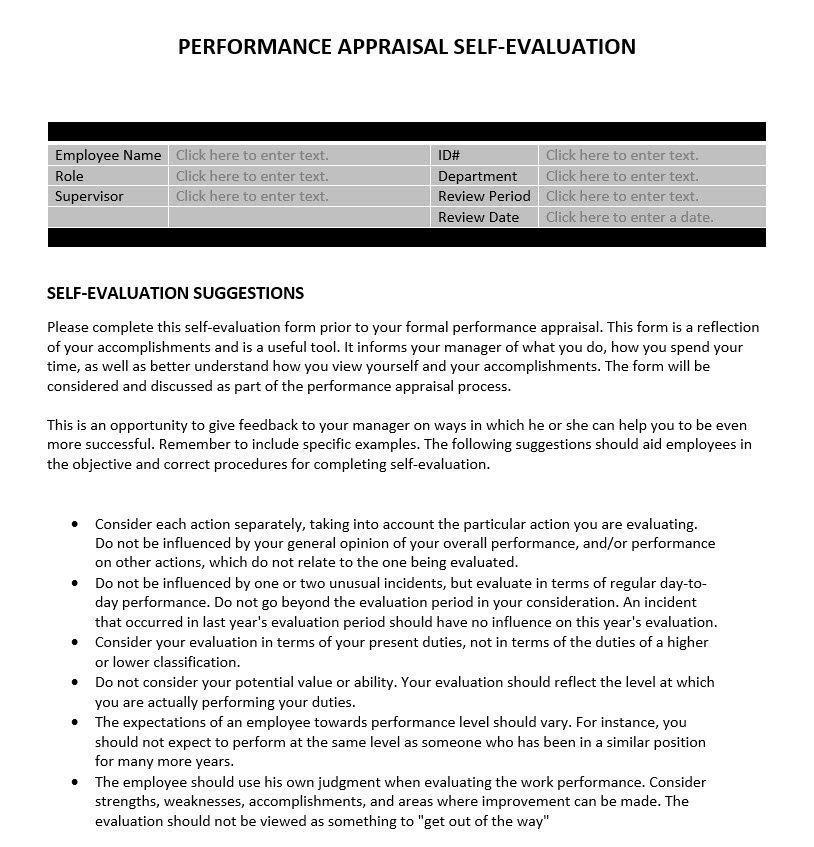 Supervisor Evaluation Form Template hospitality supervisor – Performance Evaluation Samples