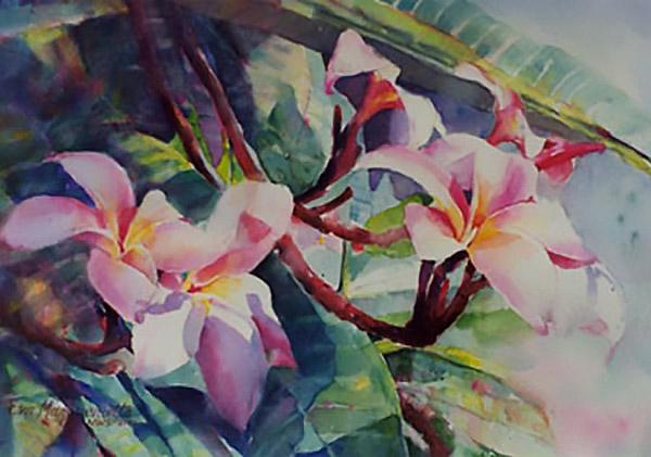 pink plumeria by Eva Margueriet