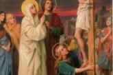 María en el Calvario. Ella compartió los dolores y la humillación de su Hijo, nadie miró a quien traspasaron con la intensidad.