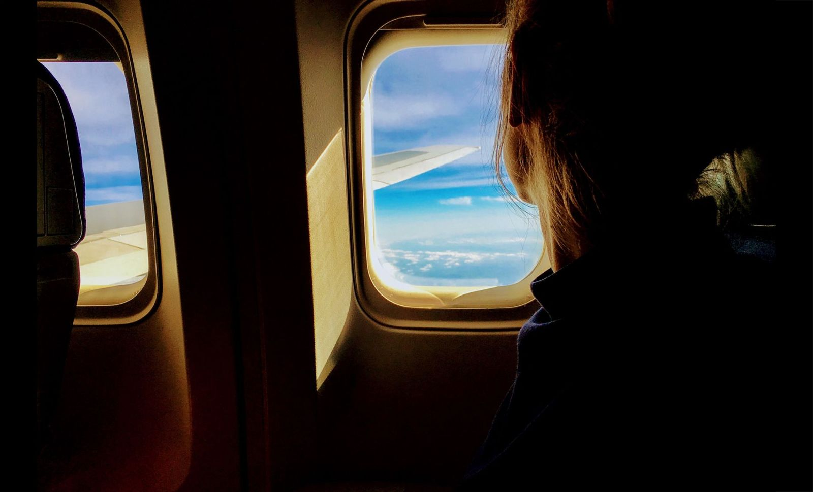 girl in airplane