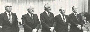 The Executive Committee (right to left): Ray H. Hughes, J. Frank Culpepper, T. L. Lowery, Floyd J. Timmerman, and E. C. Thomas