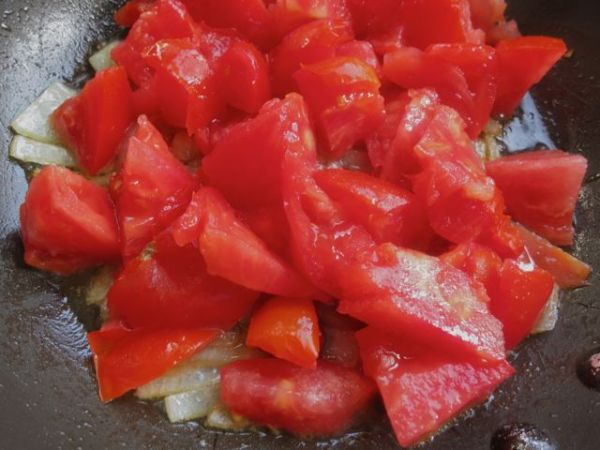 chopped tomatoes and onions