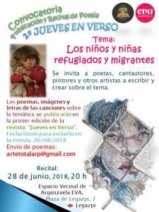 """""""Los niños y niñas refugiados y migrantes"""". recital en #EVA 28 junio 20.00 h."""
