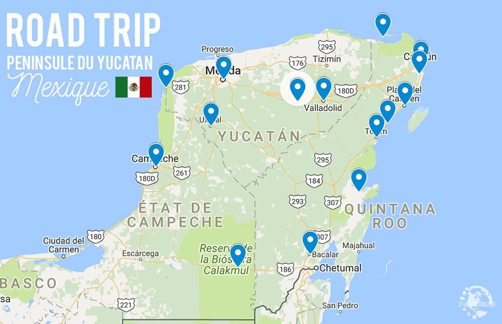 Itinéraire road trip Yucatan
