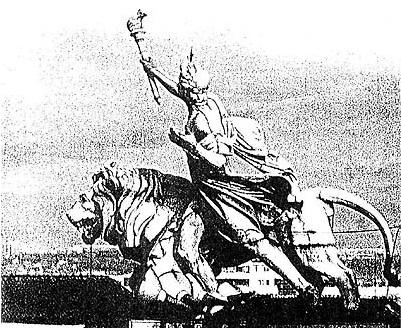 Drapeau iranien + statue -