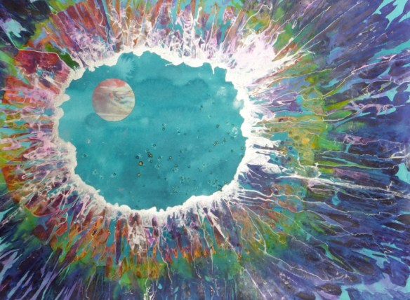 Sky Lake Moon, 30 x 22 Mixed water media on paper from the Solstice Skies collection by Eve Margo Withrow. ©2015